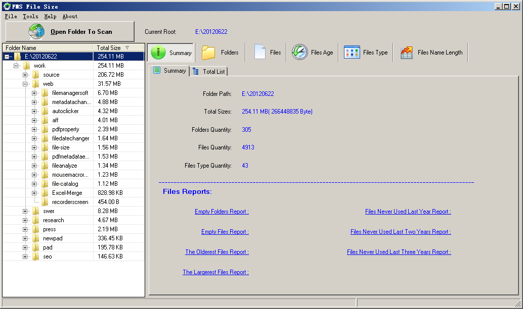 File Analyzer main form