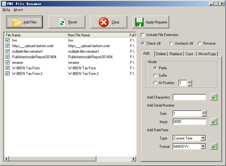 FMS File Renamer main form
